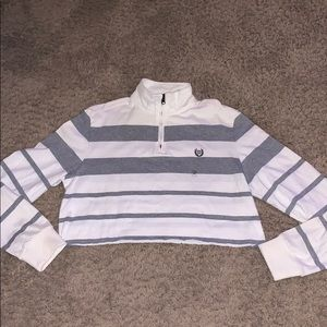 New CHAPS CROP long sleeve polo white gray M